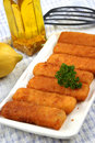 Fried fish sticks on a plate Stock Photo