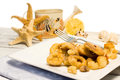 Fried fish with summer decorations Stock Photography