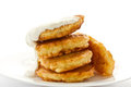 Fried fritters on a white plate Stock Photography