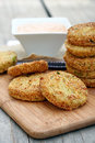 Fried green tomatoes with dipping sauce Royalty Free Stock Photo