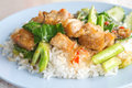 Fried kale mixed crispy pork,, kana moo krob. Royalty Free Stock Photo