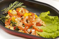 Fried king prawns with lemon garlic chilli and rosemary Stock Photography