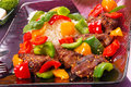Fried liver with paprika and sesame seeds Stock Images