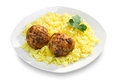 Fried meatballs and rice on plate Royalty Free Stock Images