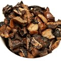 Fried mushrooms slices on white background square ingredient