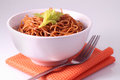 Fried noodle delicious homemade on the table Stock Image