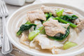 Fried noodle with pork and kale soaked in gravy sweet Stock Images