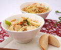 Fried noodles with chicken some Stock Image