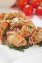 Fried noodles deep asian wonton in a wrap paper Royalty Free Stock Photo
