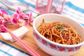 Fried noodles fresh in a bowl Royalty Free Stock Photography
