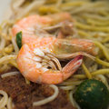 Fried noodles with Shrimps Stock Images