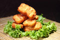 Fried nuggets crispy chicken on bamboo mat Royalty Free Stock Image