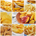 Fried potatoes collage Royalty Free Stock Photo