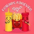 Fried potatoes and ketchup and mustard cartoon Royalty Free Stock Photo