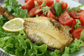 Fried red-fish with salad Stock Photography