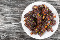 Fried ribs marinated  in soy sauce sprinkled with green onion Royalty Free Stock Photo