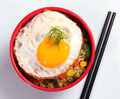 Fried rice with egg homemade healthy and isolated on white background Stock Photography