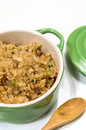 Fried rice with garlic in green bowl Stock Photography
