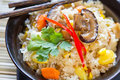 Fried rice with mushroom,sweet corn and carrot Royalty Free Stock Image
