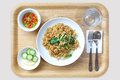 Fried rice with pork and chinese cabbage in wood tray Stock Photos