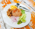 Fried rice with shrimp paste. Stock Photography