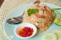 Fried rice with shrimp were in oil and vegetables Stock Photo