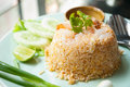 Fried rice with shrimp were in oil and vegetables Royalty Free Stock Photography