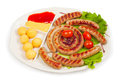 Fried sausage ring Royalty Free Stock Photo