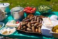 Fried sausages on the grill in table Royalty Free Stock Images