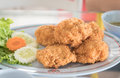 Fried seafood balls food on plate Royalty Free Stock Photo