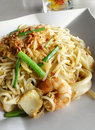 Fried seafood noodles, asian style Stock Images