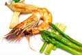 Fried Shrimp with asparagus Royalty Free Stock Photo
