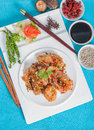 Fried shrimp with garlic and pepper menu background shooting set Royalty Free Stock Photography