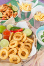 Fried shrimps and French fries Royalty Free Stock Photo