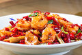 Fried Shrimps in Hot and Spicy Sauce Royalty Free Stock Photo