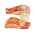 The fried slice of salmon with a lemon isolated on white background, watercolor illustration.