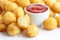 Fried small potato balls on white. Royalty Free Stock Photo