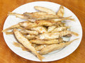 Fried smelt fish Stock Photo