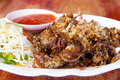 Fried soft shell crab with chili sauce Stock Photos