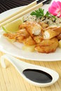 Fried sole and soy sauce Royalty Free Stock Images