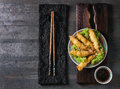 Fried tempura shrimps with sauce Royalty Free Stock Photo