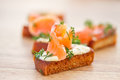 Fried toast with salted salmon Royalty Free Stock Photos