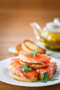 Fried toast with salted salmon Royalty Free Stock Photo