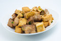 Fried tofu and pork ribs a homemade food made from rib eat with rice as main dish Stock Photos