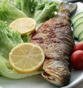 Fried trout lemon vegetables Stock Image