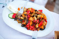 Fried vegetables served on a plate traditional greek cuisine Royalty Free Stock Photos