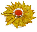Fried wantons on the background asia food snacks of people in can make your own Royalty Free Stock Images