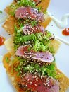 Fried Wonton Seared Tuna Sushi Appetizer Stock Images