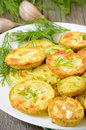Fried zucchini with dill dil close up view Royalty Free Stock Images