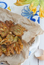 Fried zucchini flowers Stock Photo